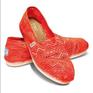 Toms Classics Neon Coral Crochet Slip On Shoes
